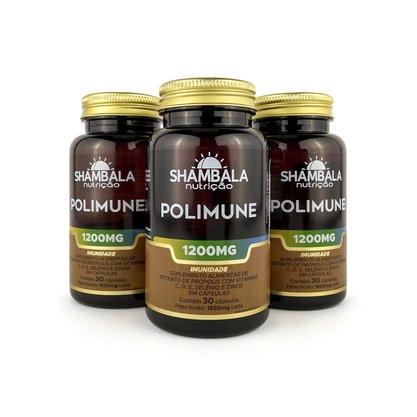Kit 3 Polimune própolis com vitaminas e minerais 30 cápsulas de 1200mg