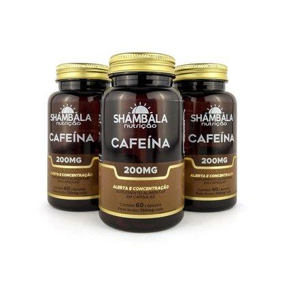 Kit 3 Suplemento de cafeína 60 cápsulas de 200mg