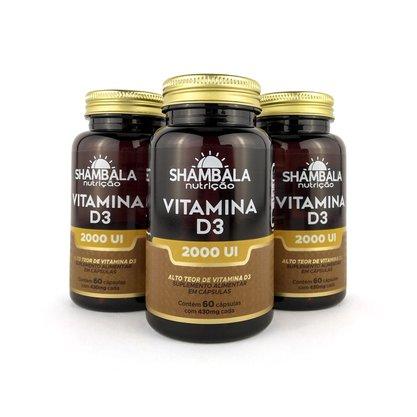Kit 3 Vitamina D3 2000UI com 60 cápsulas